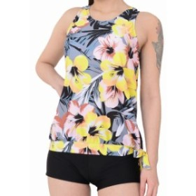 スポーツ用品 スイミング Yonfro NEW Gray Womens Size 3XL Plus Tankini Floral Printed Swimwear- #544