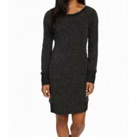 HEATHER  ファッション ドレス Stonewear NEW Heather Black Womens Size XL Aria V-Back Sweater Dress