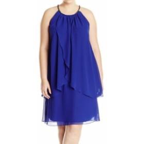 Ruffle  ファッション ドレス SLNY Womens Dress Blue Size 18W Plus Shift Embellished Halter Ruffle