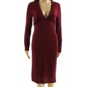 Red  ファッション ドレス Velvet Torch Womens Red Size Medium M Plunge V-Neck Sheath Dress