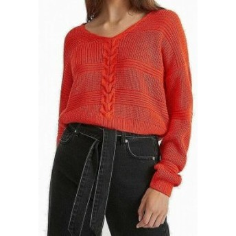 Red  ファッション トップス Miss Selfridge Womens Red Size 0 Cropped Cable Knitted Sweater