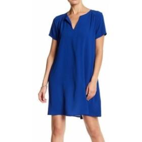 Lush ラッシュ ファッション ドレス LUSH NEW Blue Womens Size 6P Split Neck Crepe Shift Dress