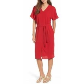 Bobeau ボビュ ファッション ドレス Bobeau Womens Sheath Dress Red Size Large L V-Neck Short Sleeve