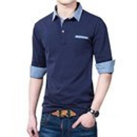 GuDeKe 秋 トップス ポロシャツ メンズ 長袖 立ち襟 シャツ 純綿 ゴルフ ウェア シンプル 修身 カットソー 無地 吸汗 ブルーM