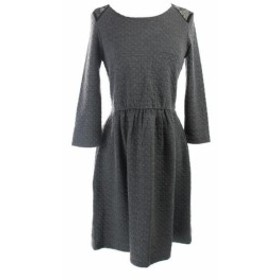 HEATHER  ファッション ドレス Maison Jules New Heather Grey Quilted Lace-Panel Dress S