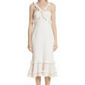 Sept  ファッション ドレス Cinq a Sept NEW Pink Ruffled Midi Womens Size 2 Chiffon Sheath Dress