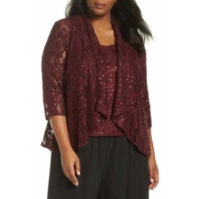 Alex Evenings アレックスイブニングス ファッション トップス Alex Evenings NEW Red Womens Size 3X Plus Sequin Lace Draped Twinset