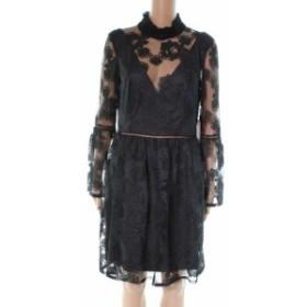 ML Monique Lhuillier ML モニークリュエリ ファッション ドレス ML Monique Lhuillier NEW Black Rouched Neck Women Size 10 Shift Dre