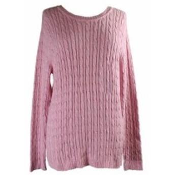 Scott  ファッション トップス Karen Scott Pink Marled Cable-Knit Sweater XL