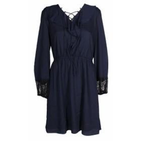 ファッション ドレス Kobi Navy Long-Sleeve Lace-Trim Ruffled Peasant Damaris Dress L