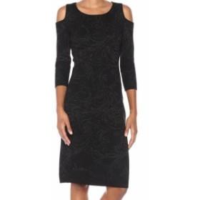 taylor テイラー ファッション ドレス Taylor NEW Black Cold-Shoulder Glitter Printed Small S Sweater Dress
