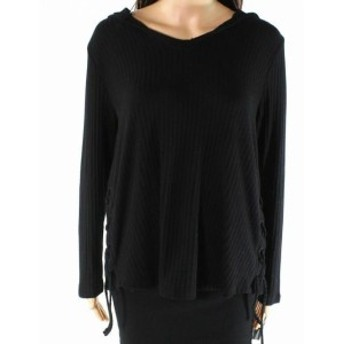 Tribal  ファッション トップス Tribal Jeans Womens Sweater Black Size Medium PM Petite V-Neck Lace Up