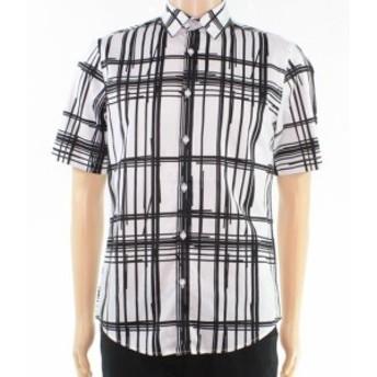 Plaid  ファッション アウター INC White Black Mens Size Medium M Broken Plaid Print Button Up Shirt