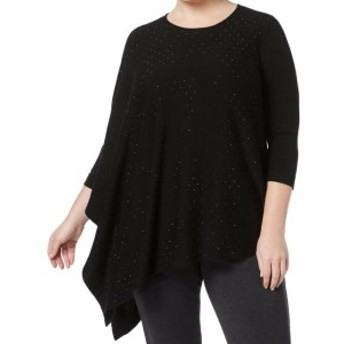 Anne Klein アンクライン ファッション トップス Anne Klein NEW Black Embellished Womens Size 1X Plus Pullover Sweater