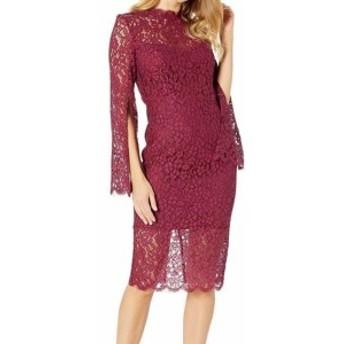 Bardot バルドー ファッション ドレス Bardot Women Red Size 14 Floral Lace Illusion Split Sleeve Shift Dress