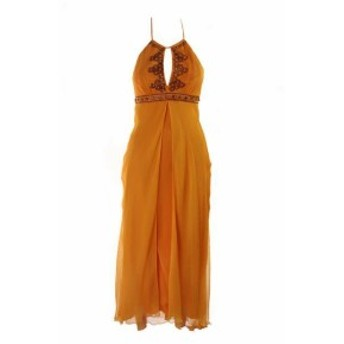 ファッション ドレス Lavanderia da Shelli Segal Arancione senza Maniche Perline Chiffon Canotta 8