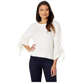 [Kenneth Cole New York(ケネスコール ニューヨーク)] レディースセーター・トレーナー Long Sleeve Cropped Boat Neck w/Gathered Sleeves Top E-Cream XL [並行輸入品]