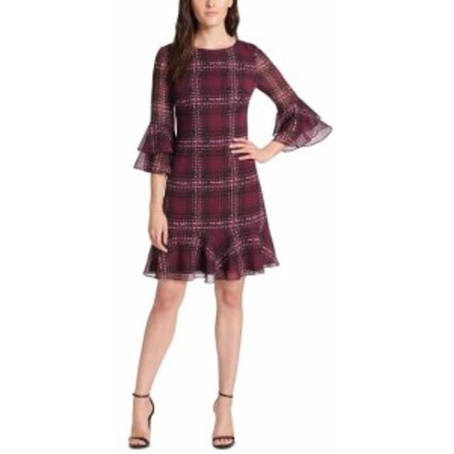 Jessica Howard ジェシカハワード ファッション ドレス Jessica Howard Womens Dress Purple Size 16 Shift 3/4 Sleeve Printed