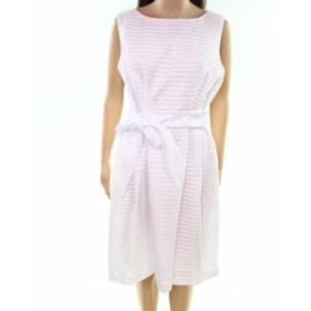 Anne Klein アンクライン ファッション ドレス Anne Klein NEW White Womens Size 14 Striped Belted A-Line Dress
