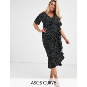 エイソス レディース ワンピース トップス ASOS DESIGN Curve Exclusive wrap midi dress in mono spot Mono spot