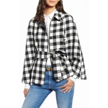 1901 ワンナインオーワン ファッション 衣類 1901 NORDSTROM NEW Black Womens Size PXS Petite Plaid Cape Jacket