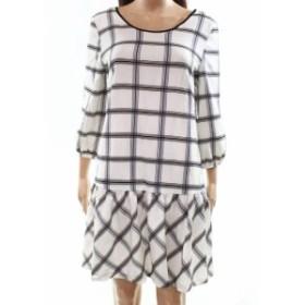 ECI ECI ファッション ドレス ECI NEW White Ivory Womens Size 6 Check Print Gathered Shift Dress