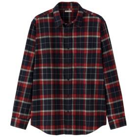 (GU)フランネルチェックシャツ(長袖)G NAVY L