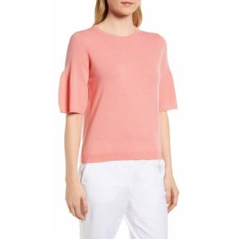 Nordstrom ノードストローム ファッション トップス Nordstrom NEW Pink Womens Size XS Ruffled Sleeve Scoop Neck Sweater