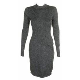 Silver  ファッション ドレス Bar III Silver Long Sleeve Metallic Sweater Dress XL