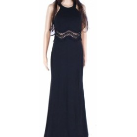 Sequin  ファッション ドレス Sequin Hearts Gown Black Size 11 Junior Halter Seamed Slit Crochet