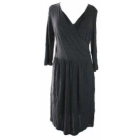 HEATHER  ファッション ドレス Charter Club NEW Heather Charcoal 3/4 - Sleeve Faux-Wrap Dress L