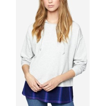 Sanctuary サンクチュアリ ファッション トップス Sanctuary NEW Gray Womens Small S Plaid Layered-Look Hooded Sweater