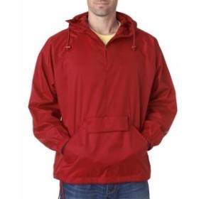 ファッション トップス UltraClub Mens 1/4-Zip Hooded Pullover Pack-Away Jacket 8925 S-4XL