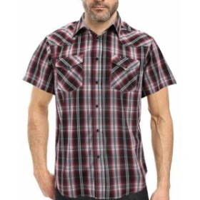 western ウェスタン ファッション アウター Mens Western Pearl Snap Button up Rodeo Plaid Short Sleeve Casual Dress Shirt