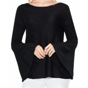 Vince ヴィンス ファッション トップス Vince Camuto NEW Black Womens Size Large L Metallic Bell-Sleeve Sweater