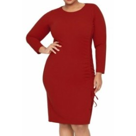Rachel Roy レイチェルロイ ファッション ドレス Rachel Roy Womens Dress Red Size 16W Plus Sheath Ruched Side Tie