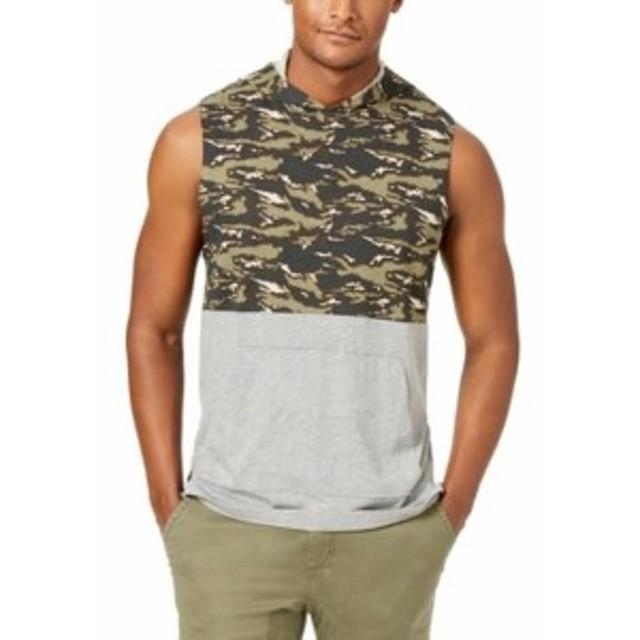American  ファッション アウター American Rag NEW Green Mens Size Medium M Camo Block Hooded Tank Shirt