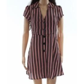 ファッション ドレス Inspired Hearts Pink Large L Junior Stripe Button Down Sheath Dress