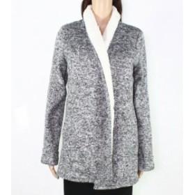 DEX デックス ファッション 衣類 DEX Womens Melange Gray Size Small S Shearling Open Front Soft Coat