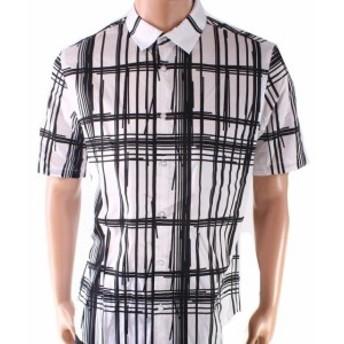 Plaid  ファッション アウター INC NEW White Mens Shirt Size Small S Broken Plaid Print Button Down