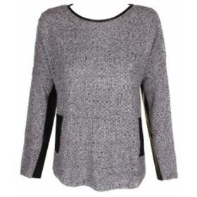 ファッション トップス BCX junior black grey marl Faux-leather-trim crew neck sweater