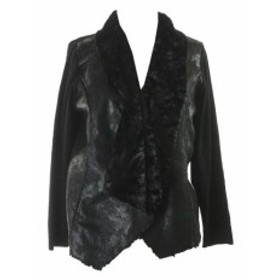 Alfani  ファッション 衣類 Alfani Black Faux-Shearling Open-Front Cardigan XS
