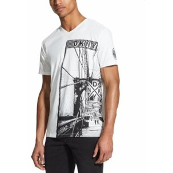 DKNY ダナキャランニューヨーク ファッション トップス DKNY Mens White Black Size Small S V-Neck Graphic Print Tee Shirt
