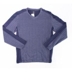 Alfani  ファッション トップス Alfani NEW Neo Navy Blue Mens Size Large L V Neck Pinstripe Shirt