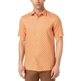 ファッション アウター Tasso Elba NEW Orange Mens Size XL Button Down Mercato Printed Shirt