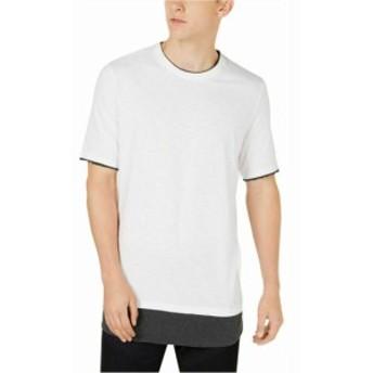 ファッション トップス INC Mens White Gray Size Large L Longer Length Crewneck Tee Shirt