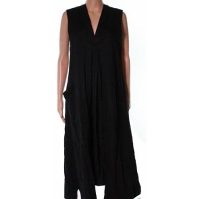 Pocket  ファッション ドレス Ys NEW Black Oversized Denim V-Neck Womens Size 2 Pocket Shift Dress