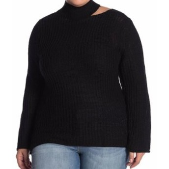 Gold ゴールド ファッション トップス PLANET GOLD Womens Black Size 2X Plus Cutout Knit Pullover Sweater