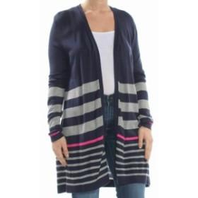 ファッション トップス Charter Club Womens Black Size XL Striped Open Cardigan Sweater