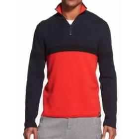 DKNY ダナキャランニューヨーク ファッション トップス DKNY Mens Navy Blue Red Small S Colorblock Quarter Zip Cotton Sweater